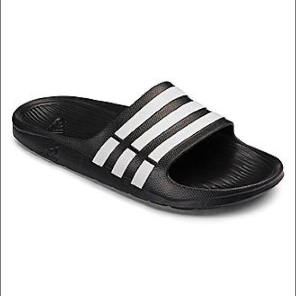the latest c230f d718c adidas Shoes | Nib Mens Duramo Slides Black | Poshmark